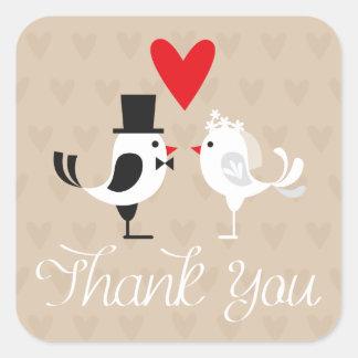 Gracias los Lovebirds y los corazones que casan a Pegatina Cuadrada