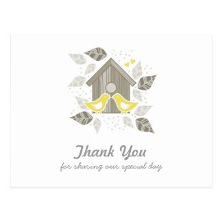 gracias los pájaros que se besan amarillos tarjetas postales