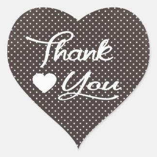 Gracias los pegatinas blancos y negros del corazón calcomanía de corazón personalizadas