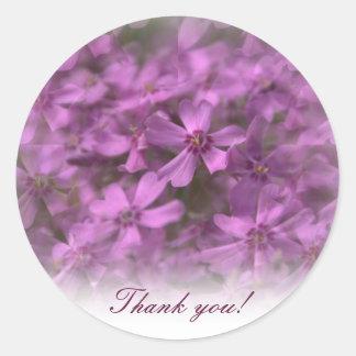 Gracias - los pegatinas con las pequeñas flores pegatina redonda