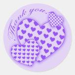 Gracias los pegatinas con los corazones púrpuras etiquetas redondas