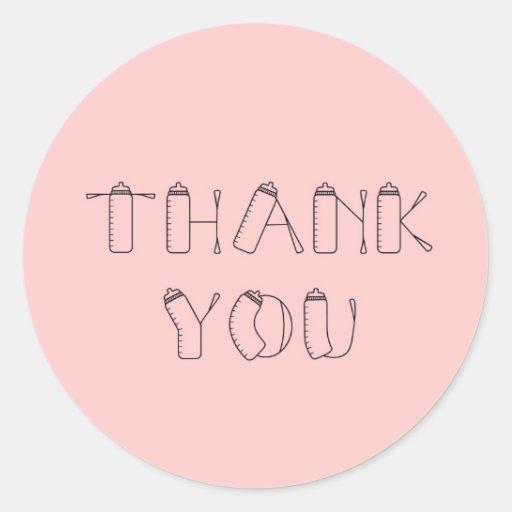 Gracias los pegatinas de la niña pegatina redonda