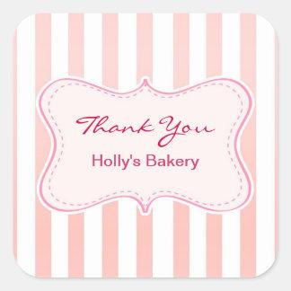 gracias los pegatinas de la panadería pegatina cuadrada