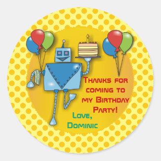 Gracias los pegatinas del amarillo de la fiesta de pegatina redonda