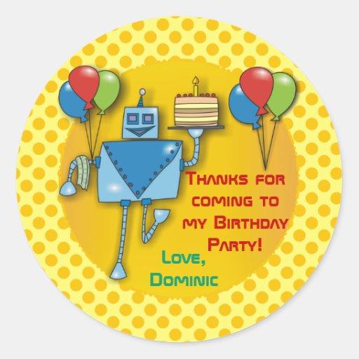 Gracias los pegatinas del amarillo de la fiesta de pegatinas redondas