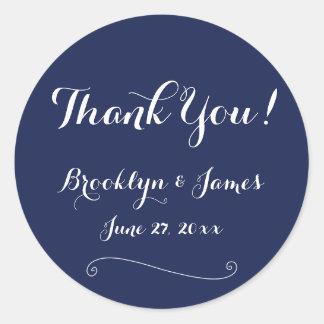 Gracias los pegatinas del boda de los azules pegatina redonda