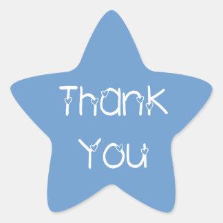 Gracias los pegatinas del boda del azul de cielo pegatina en forma de estrella