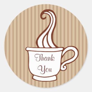 Gracias los pegatinas del café etiqueta redonda