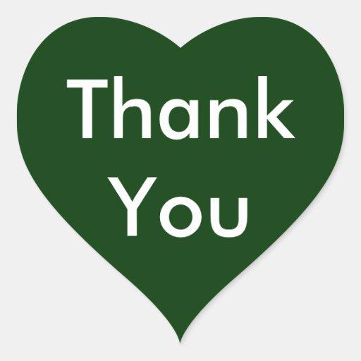 Gracias los pegatinas del corazón en fondo verde calcomania de corazon