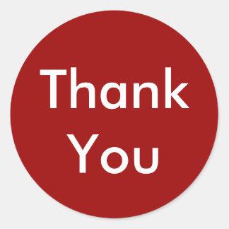 Gracias los pegatinas en fondo rojo etiquetas redondas