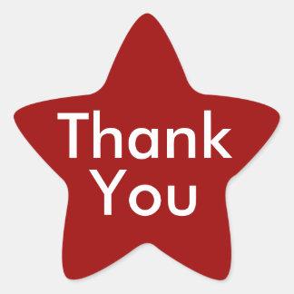 Gracias los pegatinas en fondo rojo pegatina en forma de estrella