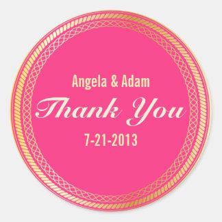 Gracias los pegatinas en oro y rosa pegatina redonda
