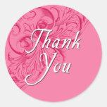 Gracias los pegatinas en rosa pegatina redonda