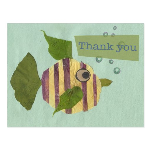Gracias los pescados del collage tarjetas postales