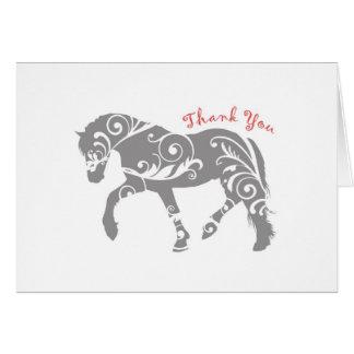 Gracias los remolinos del caballo tarjeta de felicitación