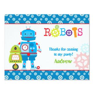 """Gracias los robots modernos azules invitación 4.25"""" x 5.5"""""""