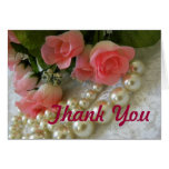 Gracias los rosas y las perlas de oro tarjetas