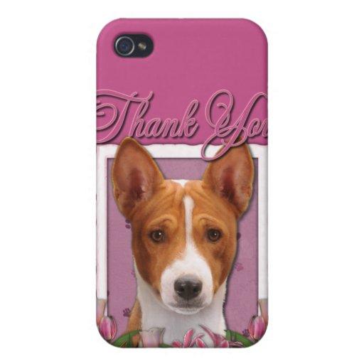 Gracias - los tulipanes rosados - Basenji iPhone 4/4S Carcasas