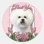 Gracias - los tulipanes rosados - Bichon Frise Etiqueta Redonda