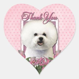 Gracias - los tulipanes rosados - Bichon Frise Calcomania Corazon