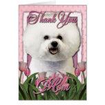 Gracias - los tulipanes rosados - Bichon Frise Tarjetón