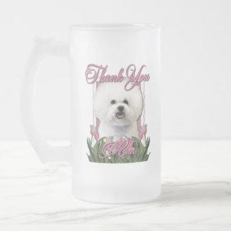 Gracias - los tulipanes rosados - Bichon Frise Taza De Cristal
