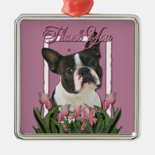 Gracias - los tulipanes rosados - Boston Terrier Adorno Navideño Cuadrado De Metal