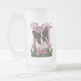 Gracias - los tulipanes rosados - Boston Terrier Taza De Cristal