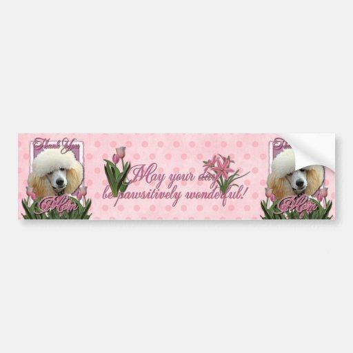 Gracias - los tulipanes rosados - caniche - albari etiqueta de parachoque