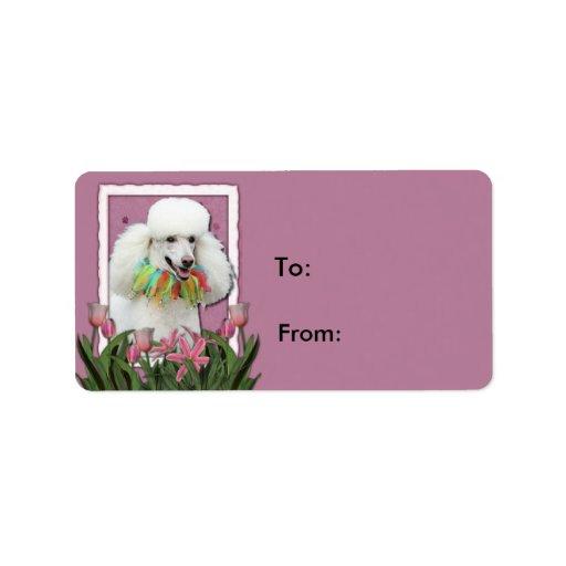 Gracias - los tulipanes rosados - caniche - blanco etiqueta de dirección