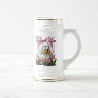 Gracias - los tulipanes rosados - caniche - blanco jarra de cerveza