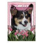 Gracias - los tulipanes rosados - Corgi Felicitación