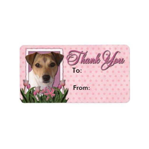 Gracias - los tulipanes rosados - Jack Russell Etiqueta De Dirección