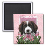 Gracias - los tulipanes rosados - perro de aguas d imán de frigorífico