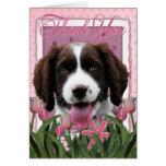 Gracias - los tulipanes rosados - perro de aguas d tarjeta