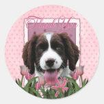 Gracias - los tulipanes rosados - perro de aguas pegatina redonda