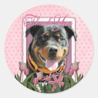 Gracias - los tulipanes rosados - Rottweiler - Pegatina Redonda