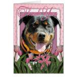 Gracias - los tulipanes rosados - Rottweiler - Sam Felicitación