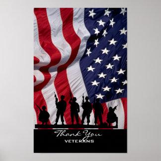Gracias los veteranos - bandera americana y los póster