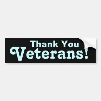 ¡Gracias los veteranos! Etiqueta De Parachoque
