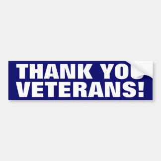 ¡Gracias los veteranos! Pegatina De Parachoque