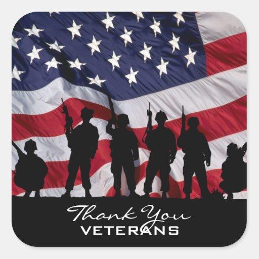 Gracias los veteranos calcomanías cuadradass