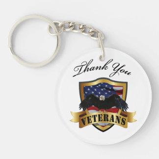 Gracias los veteranos con Eagle calvo Llavero Redondo Acrílico A Una Cara