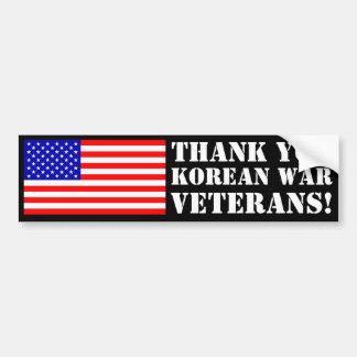 ¡Gracias los veteranos de Guerra de Corea! Pegatina Para Auto
