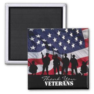 Gracias los veteranos imán cuadrado