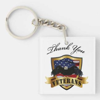 Gracias los veteranos llavero cuadrado acrílico a una cara
