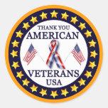 Gracias los veteranos pegatina redonda