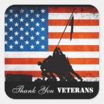 Gracias los veteranos pegatinas cuadradases