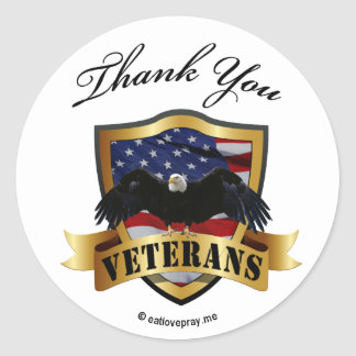 Gracias los veteranos - pegatinas de la muñeca de pegatina redonda