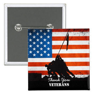 Gracias los veteranos pin cuadrada 5 cm